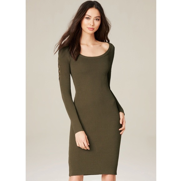NWT BEBE Lace Up Sleeve Olive Green Sweater Dress NWT
